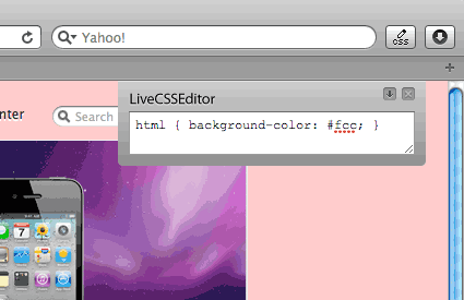 Screenshot of Live CSS Edit